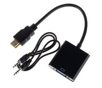 Wholesale Best HDMI To VGA Cable Adapter HDMI To VGA Converter Male To Female With Built in Chipset up to p DHL FREE
