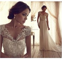 Wholesale Gorgeous White A Line Wedding Dresses Anna Campbell Beautiful Sheer Bridal Dress V Neck Pearl Backless Detachable Train Church Wedding