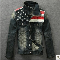 Wholesale New American flag jeans jacket for men Fashion motorcycle jeans short jacket do old jeans denim coat