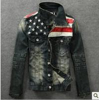 american flag jackets - New American flag jeans jacket for men Fashion motorcycle jeans short jacket do old jeans denim coat