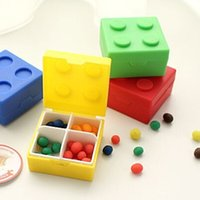 Sundries small plastic boxes - 8 pieces New Arrival Creative Lego Bricks Mini Pill Storage Box Organizer Plastic Small Vitamin Medicine Pill Storage Case Container
