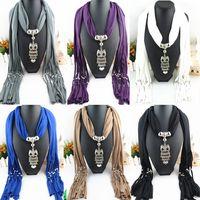 Wholesale 2015 Tassel Scarf Rose Alloy Owl Pendant Scarf New Design Style Ladies Scarfs Soft Scarves Jewellery FreeDHL E82L