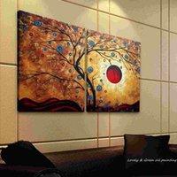 Hecho a mano sin marco estiró la pintura Money Tree Branch Canva Pintura abstracta Decoración de la pared del paisaje al óleo sobre lienzo 2 Pcs Un Conjunto