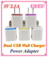 Cheap Dual USB Wall Charger Home travel adapter 5V 2.1A US EU Metal AC Power Adapter 2 ports plug for iphone 6 5 5s 4 4s ipad Samsung-DD04