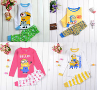 pajamas for children - Despicable ME Minion kids pajamas set cotton children sleepwear yellow color for Y kids pieces sets