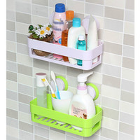 Wholesale Home Kitchen Storage Holder Plastic Bathroom Storage Shelf Kitchenware Toiletry Dish Rack with Sucker