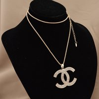 Wholesale New fashio gold plated Alloy women s full rhinestones brand letter sweater pendant necklace sweater chain for women FN0133