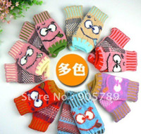 Wholesale 12pairs Children s Cartoon Knitted Mitten Baby Cotton Gloves Infant Gloves Girl and Boy Grimace Gloves