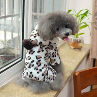 asia pets - New Arrival Pet Dog Hoodies Puppy Clothing Flannel Leopard Cat Costume Coat Jumpsuit Dog Winter Clothes Asia Size S XL HX0010