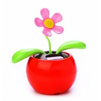solar dancing flower - S5Q Solar Powered Flip Flap Flower Car Geek Toys Swing Dancing Flowerpot Gift AAAARV