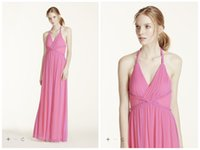 Cheap Charming Pink Two Tone Plunge Neckline Braided Detail Dress Prom Dresses A Line Chiffon Halter Draped Backless Formal Party Gowns PD006