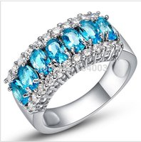 aquamarine cubic zirconia - Size Women Fashion Jewelry Rings Aquamarine Sapphire KT White Gold Filled Ring B0836