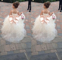 big pink belts - 2016 Pageant Dresses For Girls Spaghetti Rhinestone Flower Girl Dresses Big Bow Kids Ball Gowns Wedding Dress Sash Tulle Beading Belt