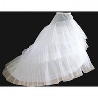 Wholesale Bridal Petticoat White A Line Layers Hoop Train Sweep Slip Wedding Dress CrinolineSkirt Underskirts For Wedding Ball Gowns Pageant Dress