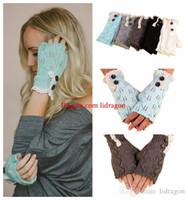 Wholesale Free DHL Stylish New Winter Women s Knitting Button Lace Trim Half Finger Gloves Wrist Gloves