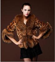 Wholesale 2014 fall autumn winter New women faux fox fur collar jackets casual cardigan jacket outwear plus size Leopard faux fur coat clothing WX92