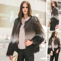 Wholesale Women Hairy Shaggy Faux Sheep Goat Fur O Neck Short Jackets Gradient Color Coat Outerwear Super Quality