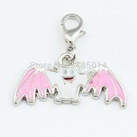 Cheap hollween gift hallowmas alloy metal pink bat floating dangle charms with lobster clasp AD110.1
