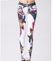 best colored denim - new Best Quality Colored Drawing Pattern Jeans lady pencil tight jeans beatuful sexy colored denim jeans denim
