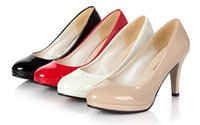 Wholesale Clubbing Waterproof High Heeled Shoes Leather Fine Head Narriage Black White Red Beige Work Shoes A026