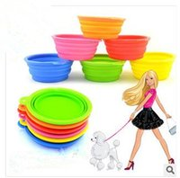 Wholesale 2014 New Style Pet Dog portable bowl Silicone Collapsible Feeding Water Feeder Travel Bowl Dish color available