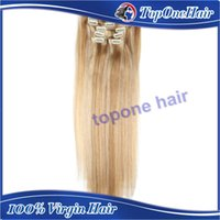Wholesale 7A grade Indian Remy Human Hair Straight Clip In Extensions Inch mix color