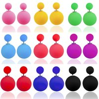 Wholesale 2015 Newest double pearl earrings for women fashion jewelry Lover candy colours double big pearls sided stud earring piece E003