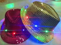 Wholesale Novelty Light Up Fedora Hats Flashing LED New Years Party Blinking Dance Costume Hats For Christams Lamp Luminous Hat