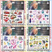 Wholesale 15 cmx10 cm Kids Body Tatoos Temporary Tattoos Big Hero6 Baymax Cartoon Minecraft Frozen Minions Temporary Tatto Stickers CCA1767