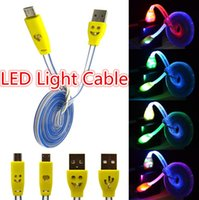 Universal   Micro USB V8 Charger Cable LED Light Data Cable Smiley Flashing 1M Noodle Charging Cords for ap 4 5 6 Galaxy S4 Android