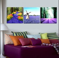 beach wine glasses - 3 Pieces Wall Painting Art Picture Paint on Canvas Prints Wine Glass Lavender windmill peony Starfish shell sandy beach tree