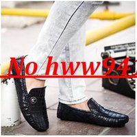 Wholesale 303 New Fashion Crocodile Pattern Genuine Leather Gommini Loafers Casual Mens Driving Shoes Mocassin Flats Male Shoes