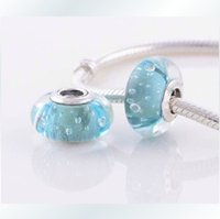 Wholesale Aqua Blue Sterling Silver Fizzle Glass Charm Bead Fit for Pandora Bracelet