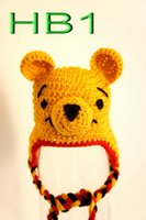 Multi baby pooh characters - Baby yellow bear hat Crochet baby cartoon Winnie the pooh hat Newborn to Toddler Crocheted Hat Photo prop Earflap hat baby beanie caps