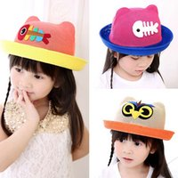 Cheap 2015 New Fashion Cartoon Colorful Fish Owl Design Children Sun Hats Straw Hats Kids Summer Hats