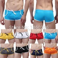 Wholesale NEW Colors Men Male Swimsuit Swimming Trunks Sport Shorts Slim Sexy Solid Board Boxershorts Underwear WSH0040