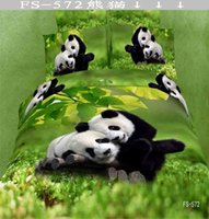 Wholesale 3D Lovely Pandas in Field Bedding Bed Sheet Bedcover Bed Sheet Duvet Cover Pillowcase Home Textile Quilt