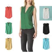 Wholesale Hot Boutique Summer Cotton Blouse Sleeveless V Neck Vest Shirt Vogue Solid Color Temperament Blusa Top Women OL Blouse