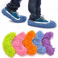 Wholesale Dust slippers multifunction Microfiber Chenille Floor Dust Cleaning Slippers Mop Wipe Shoes Wigs House Home Cloth Clean Shoe Cover Mophead