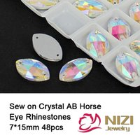 lab created - 2015New Fashion Glass Rhinestone Flatback Crystal AB Sew On Strass Stones Horse Eye Shape Sewing Wedding Veils Rhinestonesn7 mm