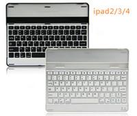 al por mayor ipad acoplamiento negro-Negro / plata de aluminio metálico delgado de cubierta de la caja de metal cubierta del teclado Bluetooth para iPad 2/3/4