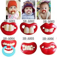 Wholesale Baby pacifier funny pacifier Cute Teeth Mustache Baby Boy Girl Infant Pacifier Orthodontic Dummy Beard Nipples Pacifiers safe G240