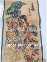 antique chinese scrolls - Chinese Ancient picture paper Beauty Tigers Scroll painting antique painting120CM