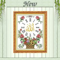 Wholesale Sunflowers scripture clock paintings counted printed on canvas DMC CT CT Chinese Cross Stitch Needlework Set Embroidery kits