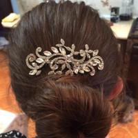 Wholesale 2015 Diamond jewelry Leaf Crystal Imitation Rhinestone Bridal Tiaras Hair Combs Hairpin Wedding Hair Accessories Hair Jewelry