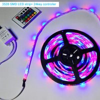Wholesale Led Strips M Leds Roll SMD3528 RGB V A Power Adapter Flexible Light Led Tape Home Decoration Lamps with key key Controller