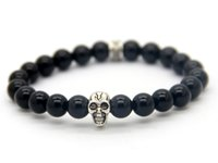 Beaded, Strands skull bracelet - A Grade Natural Black Agate Beads Antique Skull Elastic Bracelet New Brand Men s Beaded Jewelry