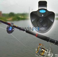 Wholesale New Convenient Black Electronic LED Light Fish Bite Sound Alarm Bell Clip On Fishing Rod Hot