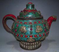 Wholesale Details about Old Tibet Tibetan Turquoise Coral Bronze Auspicious Symbols TeaPot Pot