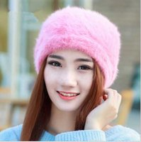 Wholesale Fashion Designer Fancy Ladies Cabbie Beret Women Winter Warm Rabbit Hair Hats Adults Beanie Head Warmer Bucket Black Pink Red Solid Color
